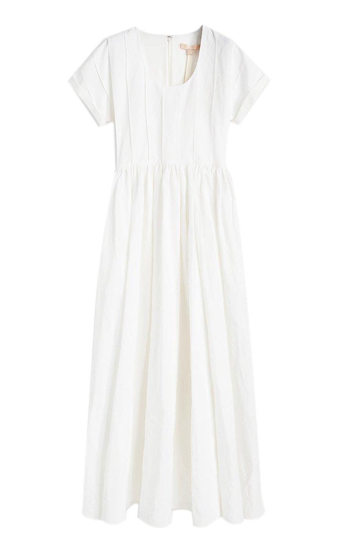 Sandra Cotton-Linen Pintucked Dress