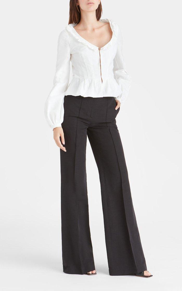 Simona Cotton-Linen Wide-Leg Trousers