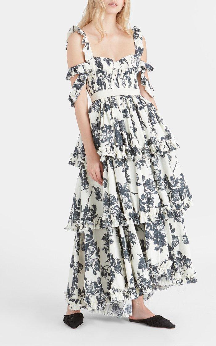 Samanta Tiered Floral Cotton Cold-Shoulder Maxi Dress