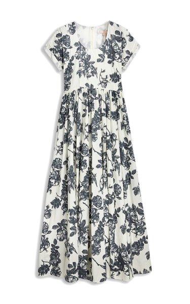 Sandra Pintucked Cotton-Linen Dress