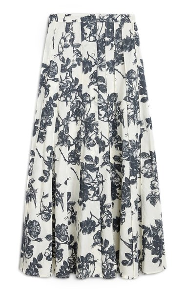 Sonia Pleated Floral Cotton Midi Skirt