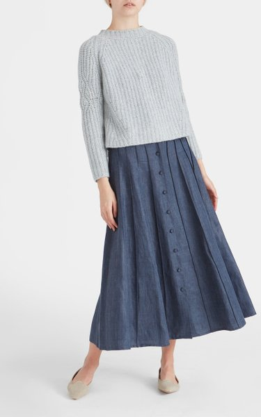 Sonia Pleated Linen-Blend Chambray Maxi Skirt