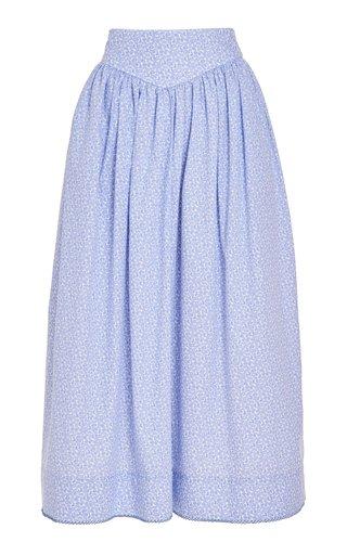 Ash Pointed Waist Crochet-Trimmed Cotton Skirt