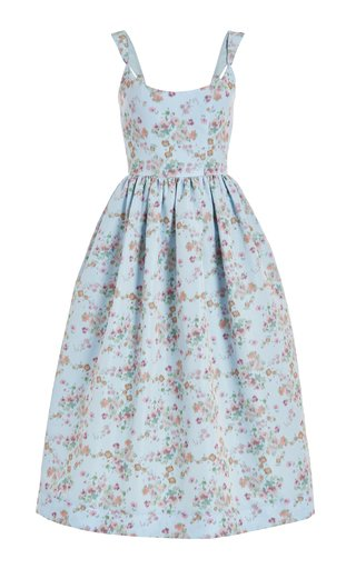Printed Pleated Cady Corset Dress