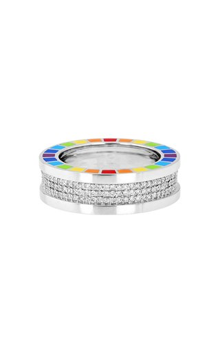 Me 18K White Gold, Diamond and Enamel Ring