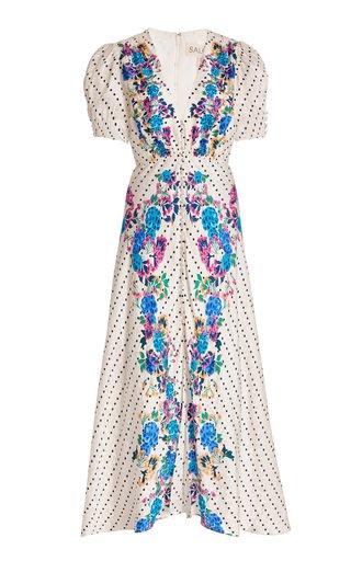 Lea Printed Silk Midi Dress