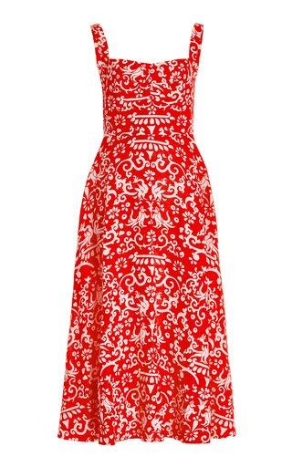 Rachel Printed Pleated Linen Dress