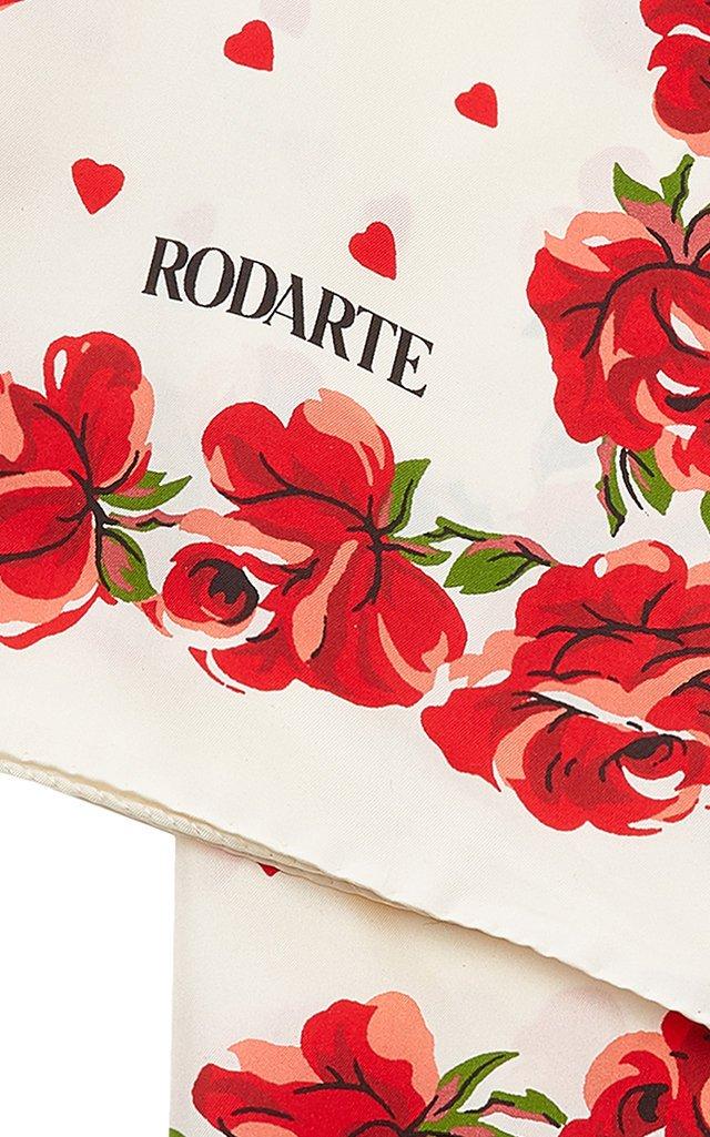 Rose-Embellished Silk Scarf