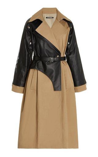 Convertible Leather-Paneled Gabardine Trench Coat