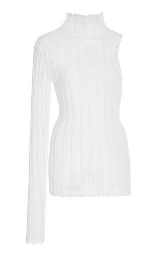 Asymmetric Cotton-Knit Turtleneck Top