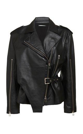 Convertible Leather Biker Jacket
