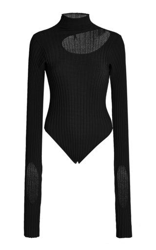 Cutout Ribbed-Knit Bodysuit