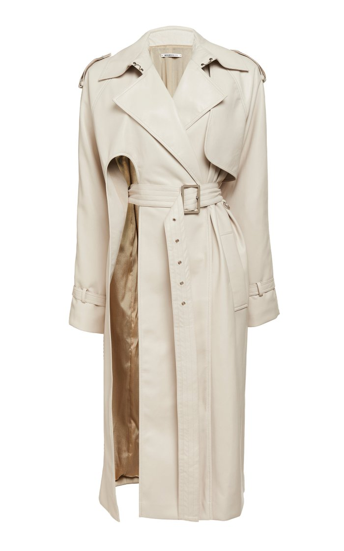 Faux-Leather Gabardine Trench Coat