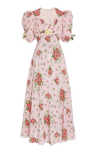 Daisy-Printed Silk Dress