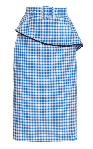 Belted Gingham Cotton-Blend Skirt