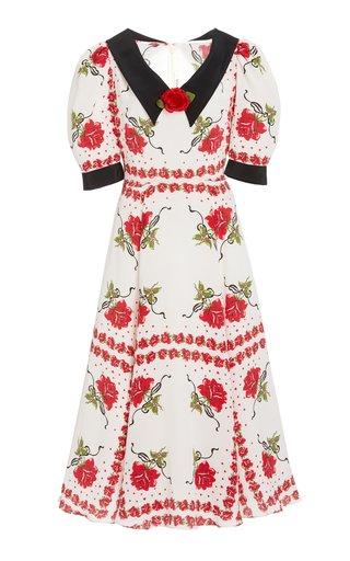 Rose-Printed Collared Silk Dress