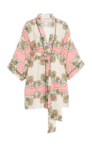 Printed Belted Silk Robe