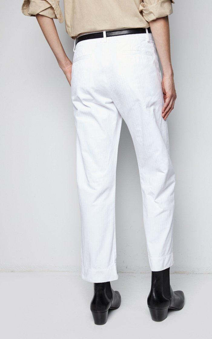Cotton Straight-Leg Tomboy Pants