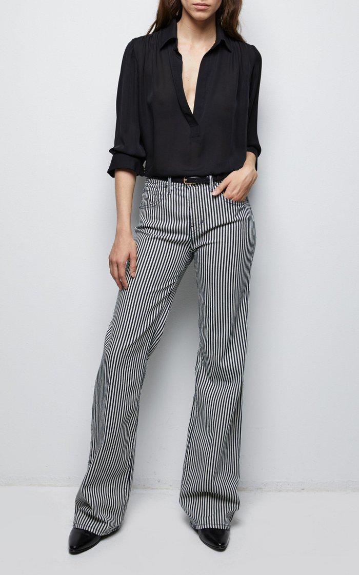 Celia Striped Mid-Rise Flared Jeans
