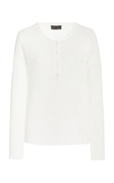 Michelle Ribbed Linen Henley Top