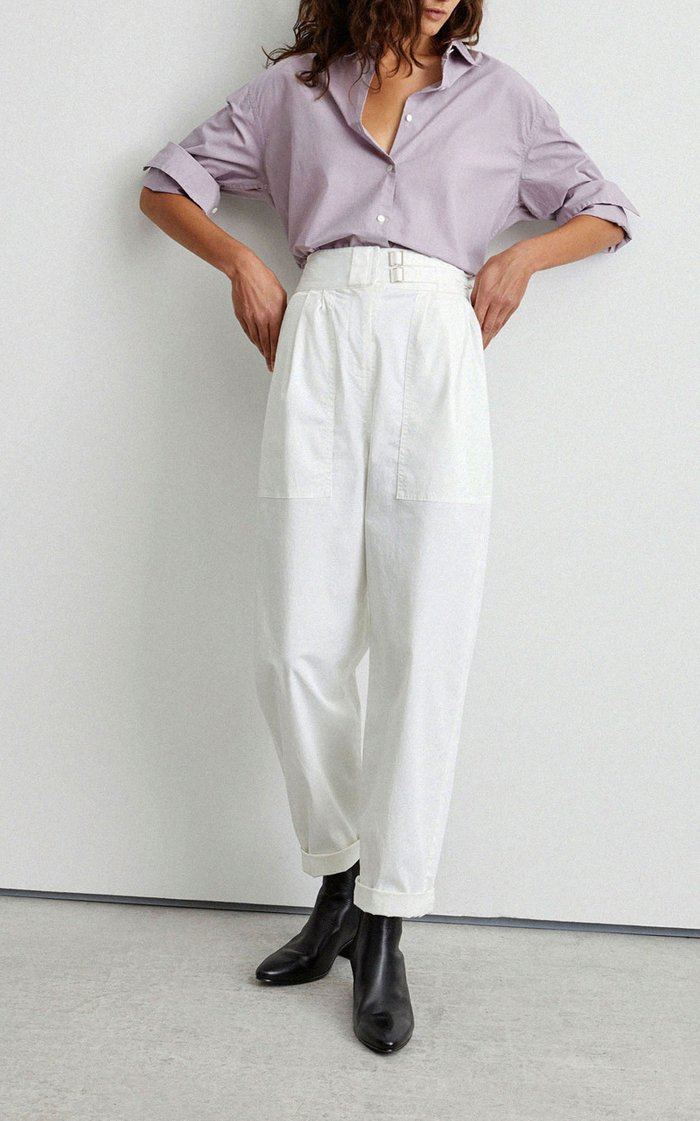 Dallas Cotton-Twill Straight-Leg Pants