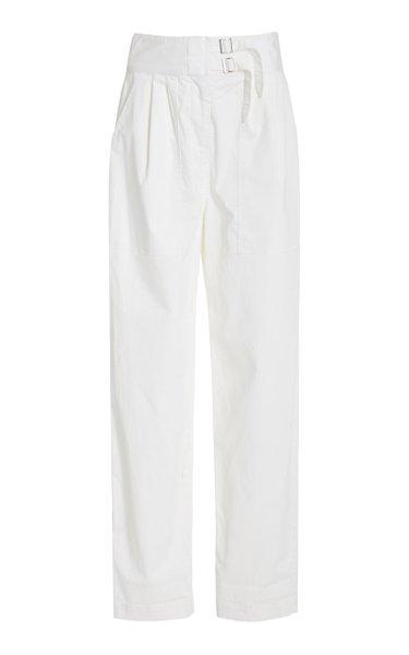 Dallas Belted Cotton Straight-Leg Pants