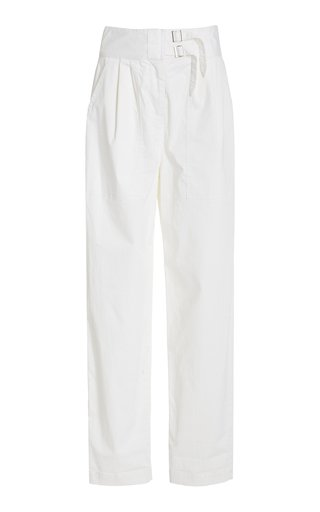 Dallas Belted Cotton Straight-Leg Pants