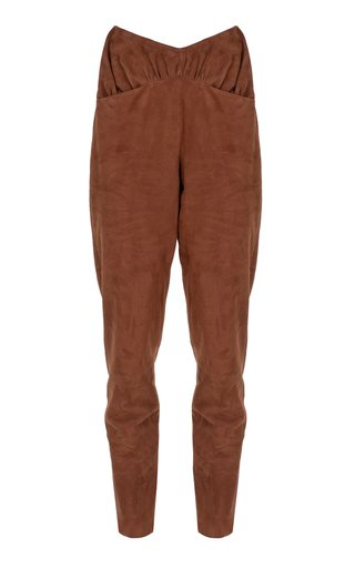 Ruched Suede Straight-Leg Pants
