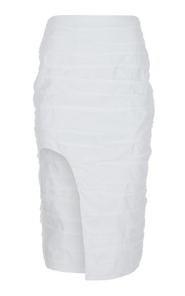 Ruched Cotton-Blend Midi Skirt