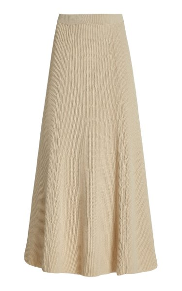 Ribbed Egyptian Cotton Midi Skirt