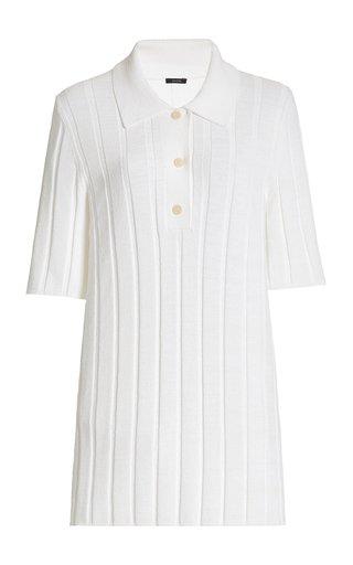 Long Textured Ribbed-Knit Polo Shirt