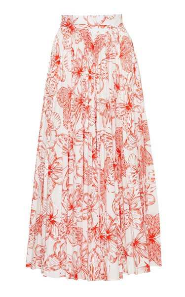Butterfly Cotton Poplin Pleated Skirt