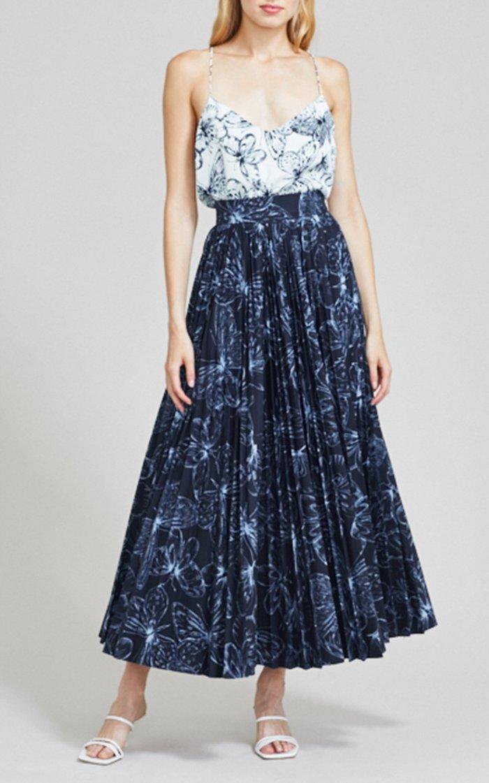 Butterfly Cotton Poplin Pleated Skirt