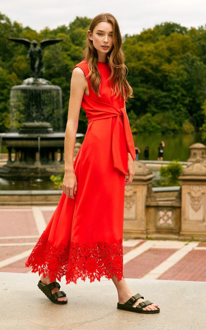Embroidered Applique Fluid Crepe Midi Dress