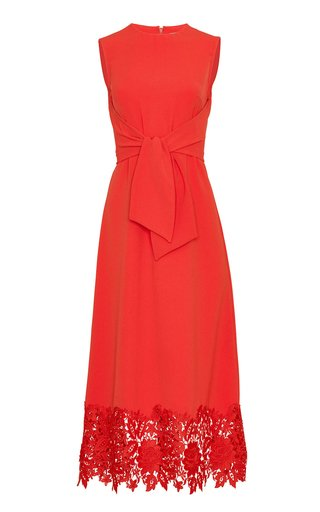 Embroidered Applique Fluid Crepe Midi Dress