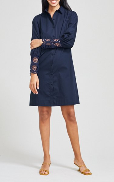 Embroidered Eyelet Poplin Shirt Dress