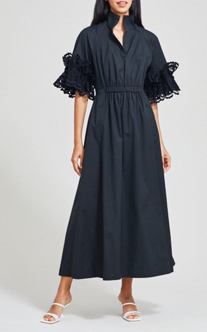 Ruffle Sleeve Eyelet Poplin Midi Dress