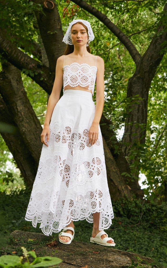 Tiered A-Line Cotton-Blend Skirt