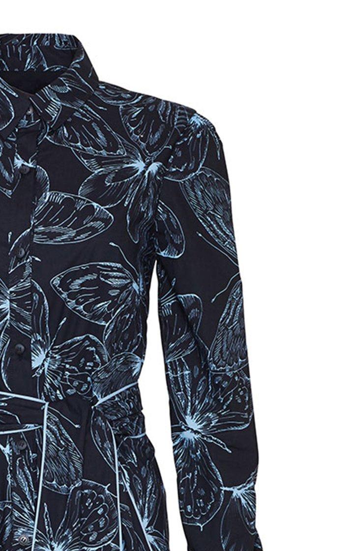 Butterfly Cotton Poplin Belted Shirt Dress