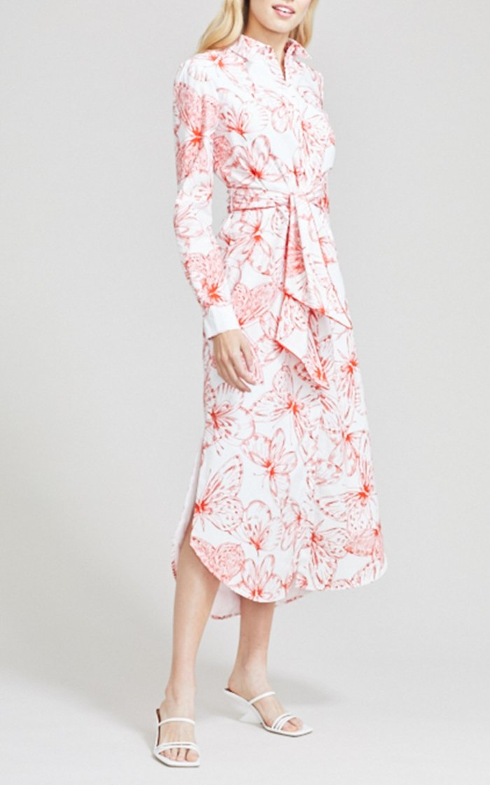 Butterfly Cotton Poplin Belted Shirt Dress