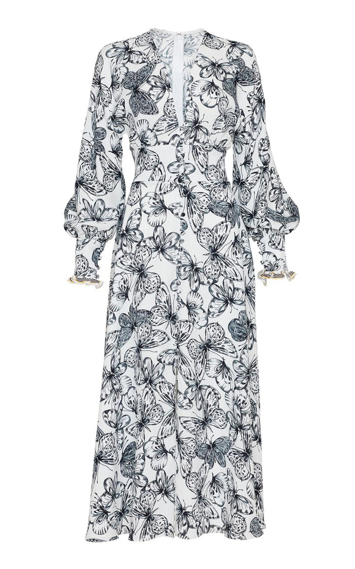 Butterfly Printed Georgette V-Neck Dress