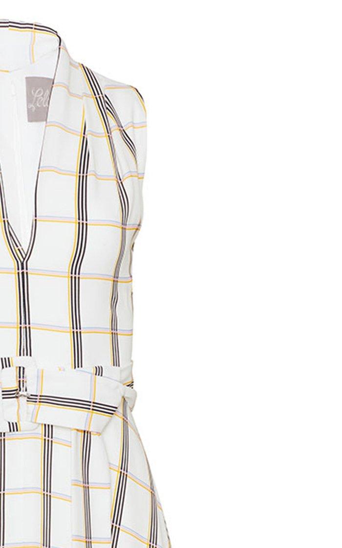 Plaid Georgette Belted V-Neck Dress