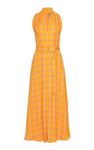 Plaid Georgette Belted V-Neck Dress
