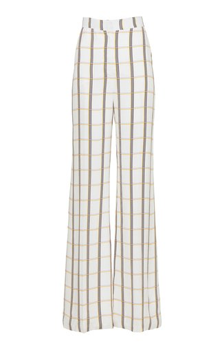 Maggie High-Rise Plaid Georgette Pant