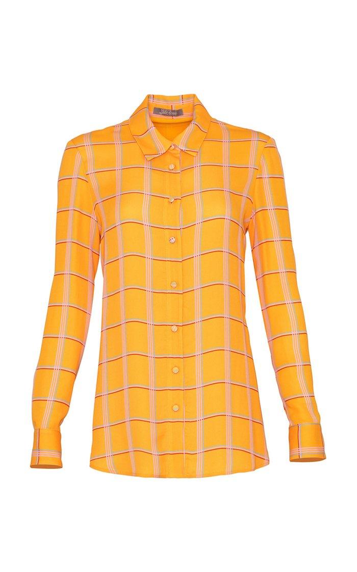 Plaid Georgette Button Down Shirt