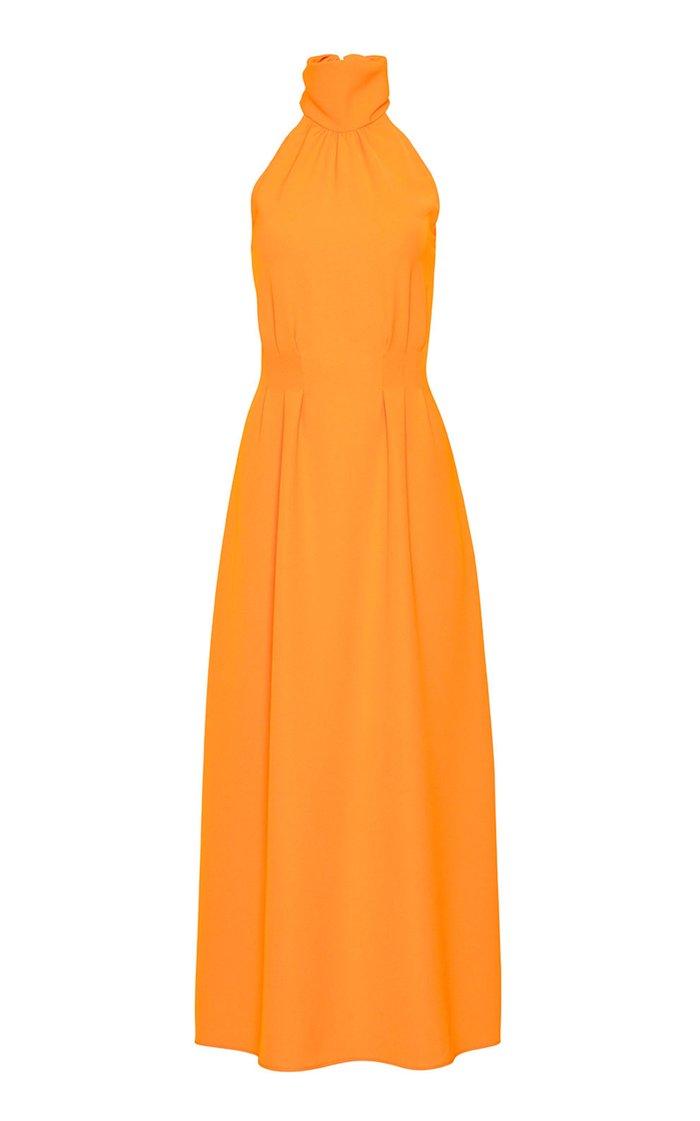 Fluid Crepe Halter Midi Dress