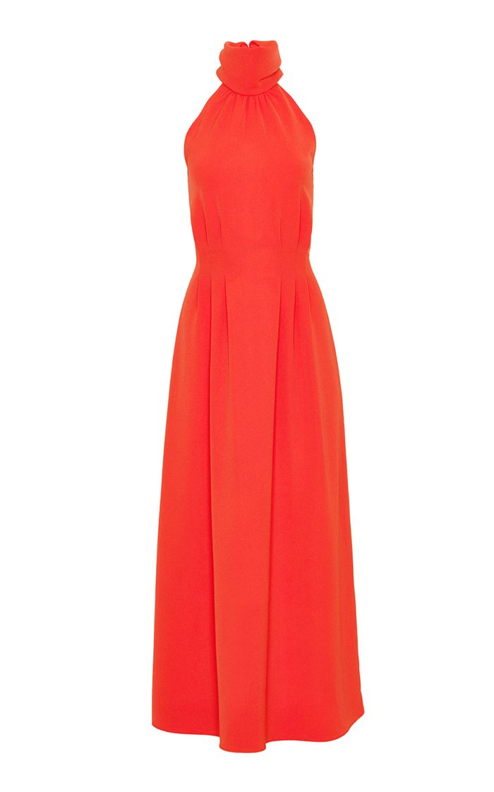 Fluid Crepe Halter Midi Dress