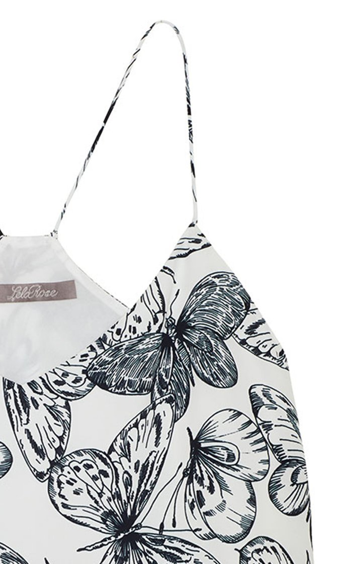 Butterfly Printed Georgette V-Neck Tank Top