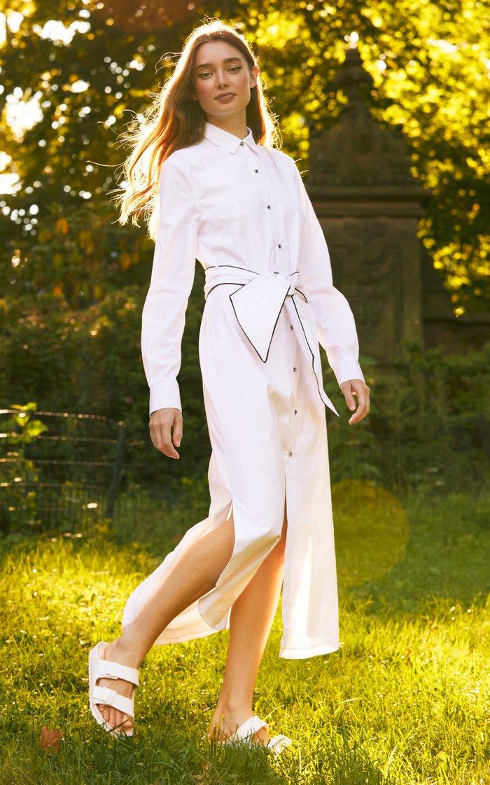 Belted Cotton-Blend Shirt Dress