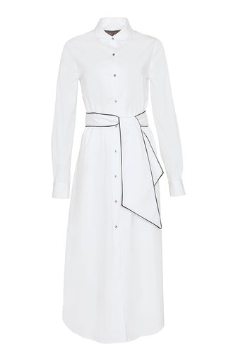 Belted Cotton-Blend Shirt Dress
